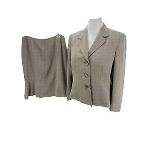 NWT Collections For Le Suit Womens 16P Jacket 14P Skirt Lined Brown 2 Piece Suit