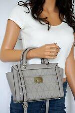 NWT Michael Kors Tina Small Zip Top Leather Satchel Messenger Bag Pearl Grey