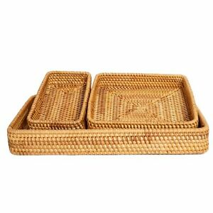 Rattan Tray Set of 3 - Serving Tray Wicker Rattan Set - Coffee Table Tray