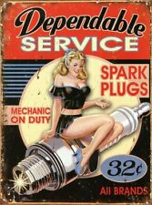 Dependable Service Vintage Retro Rustic Tin Metal Sign 13 x 16in