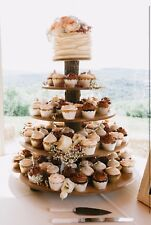 Cupcake Donut Stand (Tower Holder) 5 Tiers Wedding Party Wooden Rustic Bark