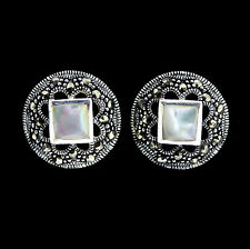 Sterling Silver Vintage Style Marcasite & Mother of Pearl Stud Earrings RRP $105