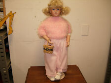 """1991 PORCELAIN DOLL BY LAURA COBABE 23"""" HOLDING BASKET OF APPLES W/STAND"""
