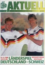 Länderspiel 19.12.1990 Deutschland - Schweiz in Stuttgart