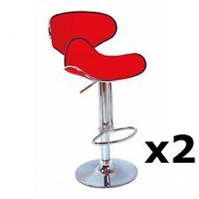 2 X RED Chrome Bar stool Swivel Galaxy Breakfast Kitchen seat barstool (X2) T301