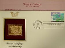 22K Gold 1995 Women's Suffrage Gold Proof Stamp Replica First Day Cover No Addrs