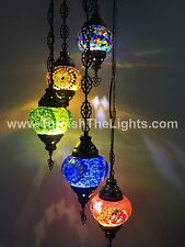 5 BALL TURKISH MOSAIC  CHANDELIER, LAMP MIX