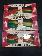 Vintage Royal Brand Plastic Forks 3 Boxes Of 8 Mid Century Modern Made In USA