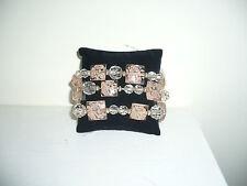 Macys Stretch Plastic Beaded Bracelets Set of 3 w/Ribbon Nwt Beautiful!