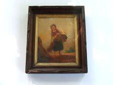Antique Framed VICTORIAN LITHOGRAPH Print, Girl, Farm Scene, Deep Walnut Frame