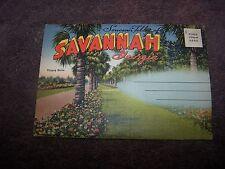 Vintage  Georgia  Savannah  Victory Drive     Linen     Postcard  Folder