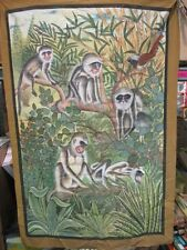 "ANTIQUE WILDLIFE MONKIES FABRIC PAINTINGS, FOR WALL FRAMING 68"" X 48"" (ZZ0389)"