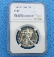 1941 NGC PF 65 Proof No AW Liberty Walking Silver Half, No AW Variety  PF65 Coin