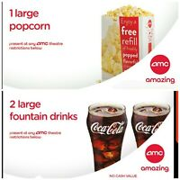 💥💥 AMC 2 lg. Drinks 1   Large Popcorn 1 hour delivery Exp. 63020 or  same day