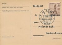 Card Stamp Germany Mi 886 Sc B270 1944 WWII FDC Feldpost Fulda Palace Used