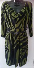 BNWT ladies size 12 green & black dress-Striking RRP$49.99