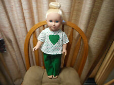 """CREAM TOP W/ HEART APPLIQUE AND GREEN PANTS FITS 18"""" FASHION DOLL   (NEW)"""