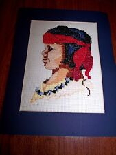 """COMPLETED Sunset NATIVE AMERICAN BOY 1501 6"""" x 8"""" Counted Cross Stitch w/Mat"""