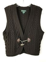 Lauren Jeans Company Ralph Lauren Sweater Vest M Lambs Wool Brown Horn Toggle