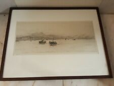 Antiguo W.l Wyllie original grabado al aguafuerte de Leith Harbour edinburghw. L. Wyllie