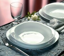 Bormioli Parma 18pc Square Dinner Serving Set Opal Glass Dinnerware Dining Plate