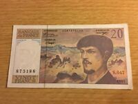 1995 Banque de France 20 Francs Bank Note used but good condition.