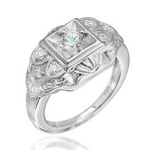 925 Sterling Silver 3/8ct TW Cubic Zirconia Art Deco Inspired Ring size 6