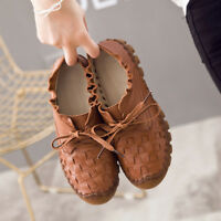 SOCOFY Women Casual Oxfords Handmade Stitching Leather Lace Up Flat Casual Shoes