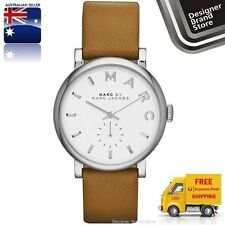 NEW MARC BY MARC JACOBS LADIES WATCH BAKER SILVER TONE TAN BROWN STRAP MBM1265
