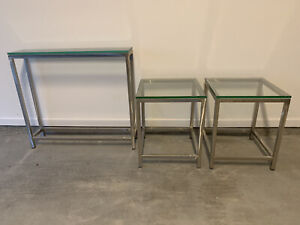 Crate and Barrel 2 Side Tables + Console Table