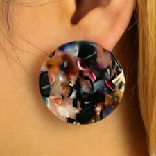 2017 Fashion Women Acrylic Round Earrings Ethnic Colorful Ear Stud Accessories