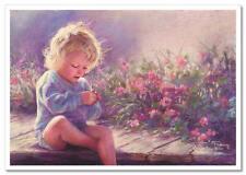 ART Kathryn Kathy Andrews Fincher Kids Baby Little Girl Ladybug Flowers Poscard