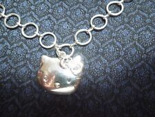 Sanrio Hello Kitty Silver tone Pendant w/ Pink Stone and Open Link Circle Chain