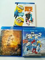 Kids DVD Disney Lot of 3 Despicable Me 2 The Smurfs 2 Beauty and the Beast Set