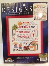 """Designs for the Needle """"305305 """"God Bless"""" Cross Stitch  NIP"""
