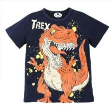 Clothing Summer Children Boys Cartoon Dinosaur Letter Print 100% Cotton T-shirt