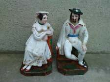2 serre livre porcelaine personnage BOUGEOIR ? porcelain figure saxe ? bookend ?