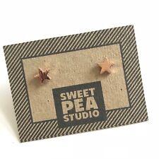 Brushed Rose Gold Star SweetPea Studio Stud Earrings Gift Jewellery - Studs