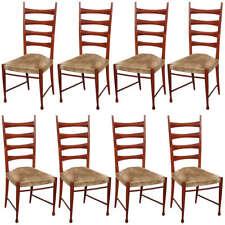 Set of 8 mahogany dining chairs made by Paolo Buffa