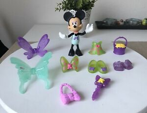 minnie mouse Bowtique Bow-tique Doll Figure Fairy Dress Up Snap On Toy Purple