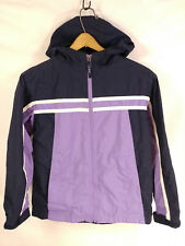 Girls LL BEAN Purple Navy Outdoor Rain Windbreaker Hooded Lightweight 10 - 12 M