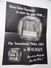 1948 PHILCO 1282 Combination Radio Phonograph Advertising Sales Poster Vintage