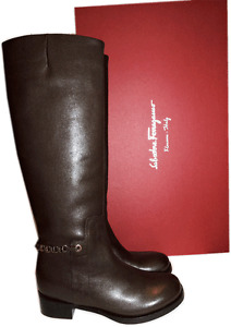 $1290 Salvatore Ferragamo Nando Tall Riding Boots Gold Chain Leather Booties