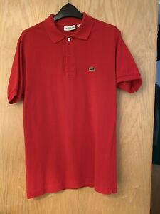 Mens Red Slim fit Lacoste Polo Shirt Size 3 Small