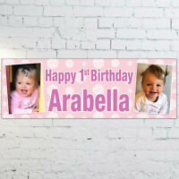Personalised Girls 1st 2nd 3rd Birthday PHOTO Banner 3ft x 1ft - Pink