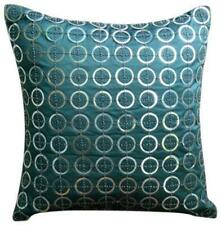 Teal Blue Decorative Pillow Cover 20x20 inch Silk, Sequin - Teal N Silver Rings