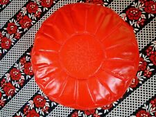 New Wonderful Moroccan Leather Round Pouf Handmade Red Art Home Decoration