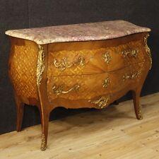 Comò stile antico Luigi XV cassettone intarsiato mobile 2 cassetti legno marmo