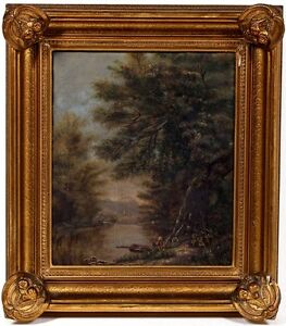 "Hudson River School c.1800's OIL PAINTING, ""Boy Fishing"" with Ornate Frame"