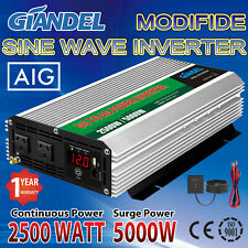 Large Shell Power Inverter 2500W/5000W 12V to 240V 4.5m Remote USA Transistors
